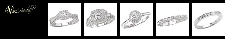 Kim's LaVie bridal collection. Each engagement ring and wedding band is exquisitely crafted of 14kt white gold and diamonds. Features pristine whiteness of platinum without the high cost.