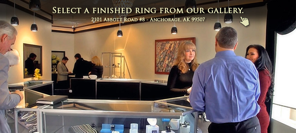 Select a finished engagement ring from our jewelry gallery in Anchorage, AK.